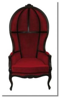 Antique Downton Dome Hearth Fireplace Chair Abbey w Classic Crushed Velvet Red