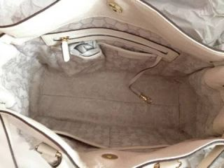 Michael Kors Leather Hamilton Vanilla Gold Hardware Large N s Tote Retail $358