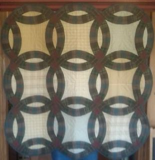 Country Double Wedding Ring Plaid Quilt Wall Hanging