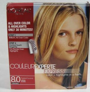 Loreal New Couleur Experte Express 8 0 Toasted Coconut Hair Color Highlight Kit