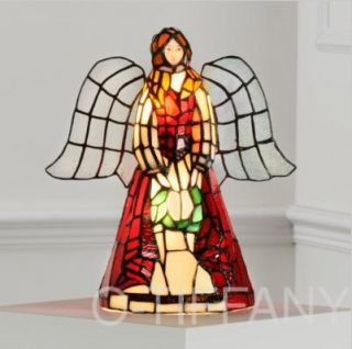 Tiffany Style Stained Glass Accent Lamp Angel