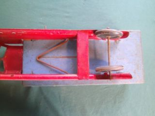 Vintage 1940's Louis Marx Lumar Pressed Steel Toy Dump Truck Red Blue Hobby