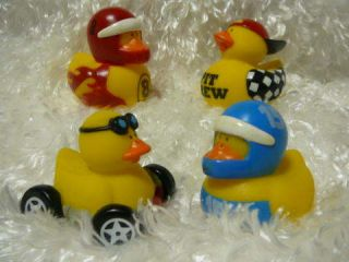4 Race Car Rubber Ducks Driver Pit Crew Racing Ducky Party Favors Cake Toppers
