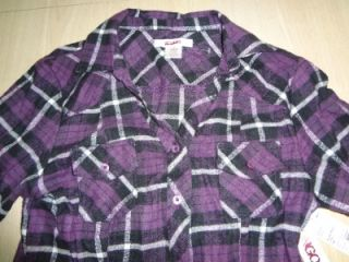Bongo Junior Size Large Purple Black Plaid Flannel Roll Up Sleeves Shirt New