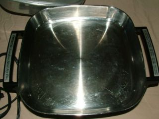 Nesco SS Electric Skillet Pan Cookware w Warming Tray