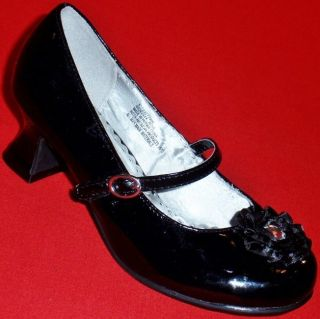 New Girl's Toddler's KK Rose Crystal Black Mary Jane Fashion Heels Dress Shoes