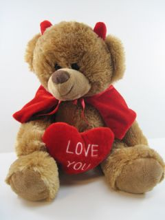"Super Soft Love You Heart Brown Teddy Bear Plush Devil So Cute 9"" Best Made"