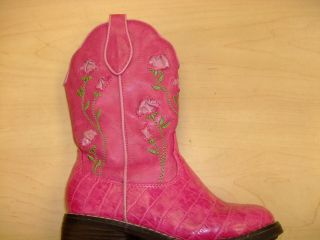 Toddler Girls Pink Western Cow Girl Cowboy Boots Size 10