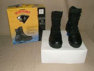Herman Survivors Mens Black Leather Commander Boots Sz 7 5
