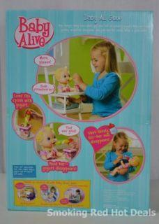 Baby Alive Baby All Gone Doll Talks Feed Her Yogurt Milk Spoon Girls Hot Toy New