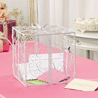 White Gift Box w Bow Metal Wedding Card Holder Wishing Well Reception Money