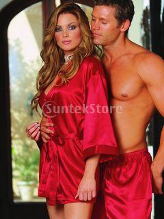Women's Sexy Long Sleeve Belt Kimono Sleepwear Lingerie Nightdress Babydoll Red