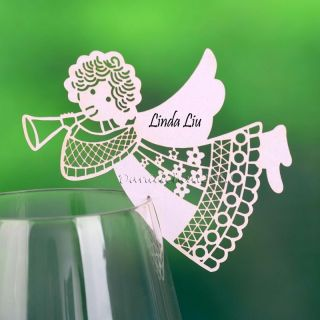 102 White Laser Cut Angel Trumpet Place Name Cards for Wine Glass Wedding Favor