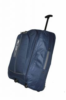 Navy Blue 2 Wheeled Lightweight Hand Luggage Cabin Flight Travel Weekend Bag