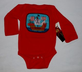 New Pirate SHIP Crossbones Skull Red Blue Boys Kids Baby Bodysuit Shirt Clothes