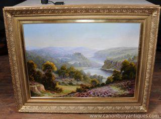 Large Romantic Oil Painting Victorian Signed Carlier Pastoral Landscape Gilt Fra