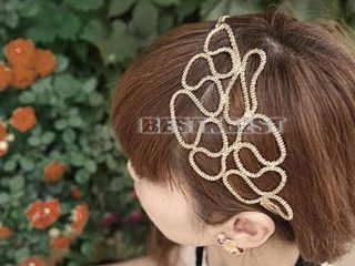 New Women Fashion Gold Hollow Out Braided Headband Hair Band Elastic Accessories