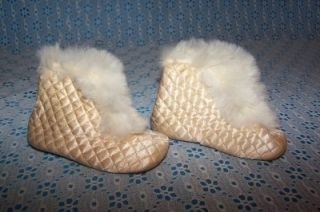 Antique Victorian Baby Boots Leather Sole Rabbit Fur