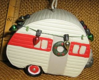 Cannon Falls Teardrop camper Camping Ornament with Wreath Christmas Lights New