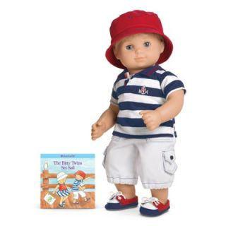 American Girl Bitty Baby's Twins Nautical Shorts Set for Boy Doll Retired New