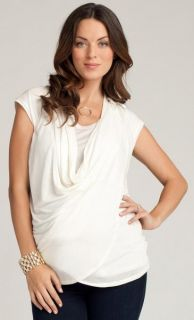 New Ingrid Isabel Maternity Nursing Drape Front Grecian Wrap Tie Top $68 Gray