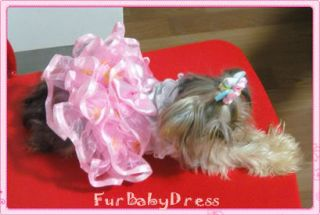XS Pinkbow Dress 1 Free Bow Teacup Yorkie Dog Puppy Dress Chihuahua Maltese