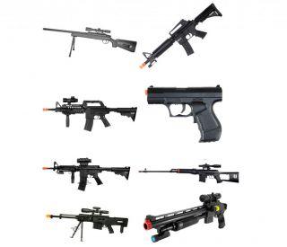 8x Used Airsoft Gun Shotgun Pistol Sniper Rifle Gun Lot Spring Electric AEG BB