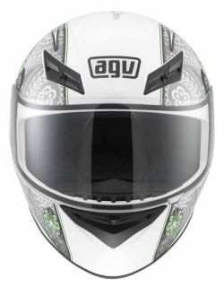Agv Womens K3 Crew Full Face Race Street Motorcycle Helmet White Silver Lime