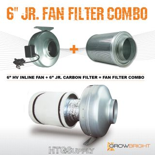 "6"" x 14"" Carbon Air Filter Pro Combo 6 inch Inline Fan Exhaust H V Kit Set Odor"
