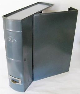 Vintage Art Steel Co Asco Gray Metal File Box Industrial Holder Book Shape Safe