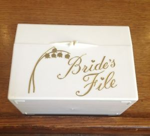 Vintage Bride's File Card Box with Cards Plastic Wedding