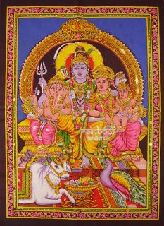 Hindu Shiva Family Ganesha Parvati Sequin Wall Hanging Tapestry Ethnic Decor Art