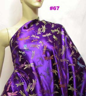 Violet Dragonfly Chinese Artificial Silk Brocade Fabric Meter