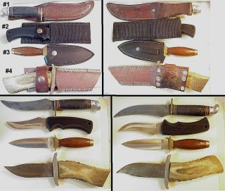 4 Vintage Fixed Blade Type Knives Western Boulder Colo Imperial Custom Sheath'S