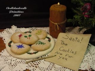 Primitive Christmas Santa's Cookies Plate Candle Letter Pen Holiday Tuck Pattern