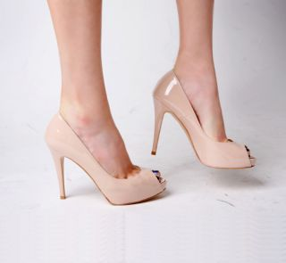 Pretty Petit Small Patent Leather Nude Color Heel Pumps