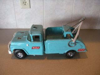 RARE Vintage Buddy L Tow Truck Teal Light Blue Fix My Flat Pressed Steel