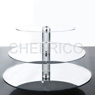 3 Tier Large Round Wedding Mirrored Effects Cupcake Stand Tree Tower Cup Cake Di