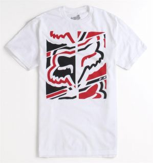 Fox Racing Dieter Logo Tee Mens White Graphic T Shirt New