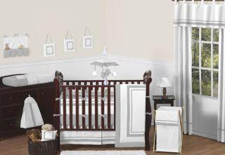 Designer Gray White Unisex Baby Boy Girl Crib Bedding Comforter Set Collection