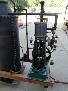 Vintage Antique Bottle Frame Vertical Live Steam Engine w Boiler on Hand Trucks