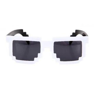 White 8 Bit Pixel Costume Glasses Computer Video Game Geek Nerd Cosplay New