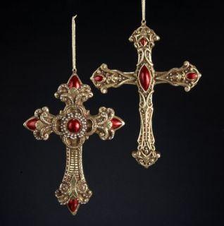 "Kurt s Adler 9"" Burgundy Gold Cross w Pearl Accent Christmas Ornament S0104"