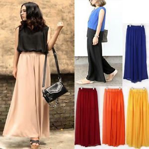 Stylish Women's Palazzo Pants Wide Loose Chiffon Gauze Long Gaucho Trousers CPR
