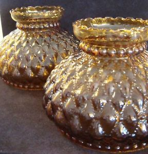 Pair Vintage Deco Gone with The Wind Hurricane Lamp Amber Glass Shades Globes