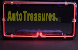 ... Red Car Truck Neon License Plate Street Frame Auto Glow Cover Lighted  Bright New ...