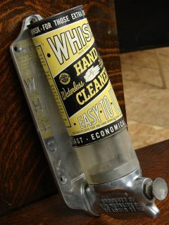 40s Vintage Whisk Hand Cleaner Gas Service Station Restroom Soap Dispenser Sign