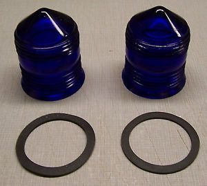 2 Vintage Cobalt Blue Glass Airport Runway Light Globes Arts Crafts Rat Rod Lt 8