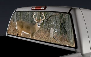 Rear Window Graphic Decal Truck SUV Deer Buck Woods Hunting 012