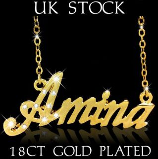 Name Necklaces Amina Islamic Gifts Custom Jewelry 18K 18ct Arabic Asian Muslim